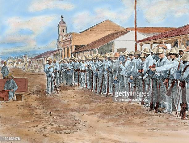 Cuban War of Independence against Spain Spanish troops at the time of rollcall in Colon Colored engraving