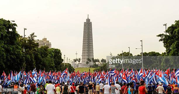 Cuban workers attend May Day celebrations at Revolution Square in Havana on May 1 2013 AFP PHOTO/str