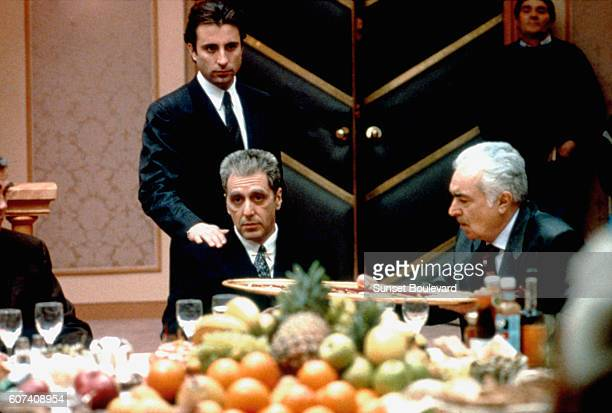 CubanAmerican actor Andy Garcia and American actor Al Pacino on the set of The Godfather Part III written and directed by Francis Ford Coppola