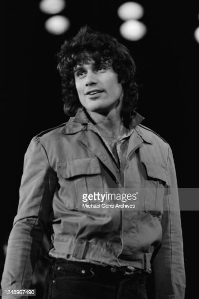Cuban-American actor Steven Bauer portrays singer Jim Morrison at a Welcome Home benefit concert for Vietnam veterans, USA, circa 1986.