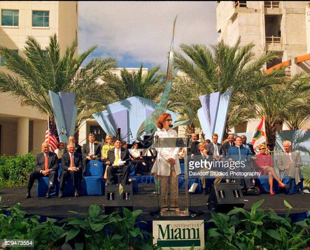 CubanAmerican musician Gloria Estefan speaks at the dedication ceremony for the University of Miami School of Medicine's Lois Pope Life Center Miami...