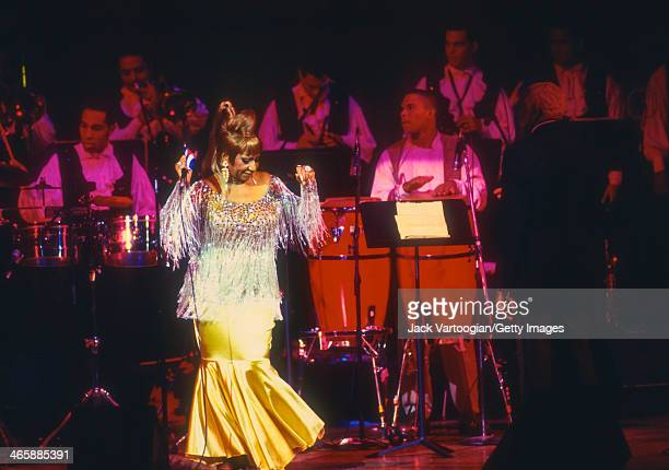CubanAmerican salsa singer Celia Cruz performs at the JVC Jazz Festival concert 'Two Divas and a Lion' at Carnegie Hall New York New York July 1 1995...