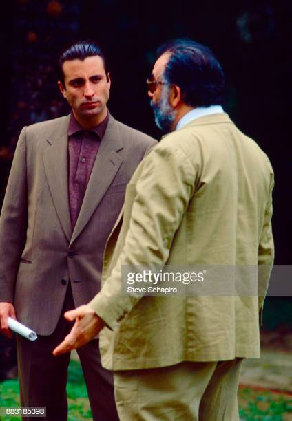 Cubanborn American actor Andy Garcia listens to American director Francis Ford Coppola on the set of 'The Godfather Part III' Palermo Italy 1989