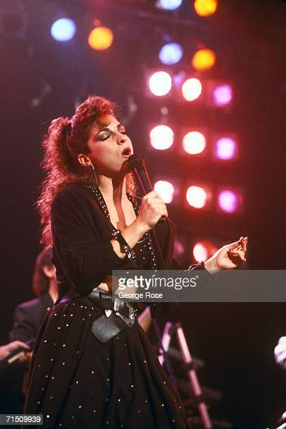 Cubanborn and fivetime Grammy Awardwinning singer Gloria Estefan performs in 1987 Hollywood California concert at the Palladium