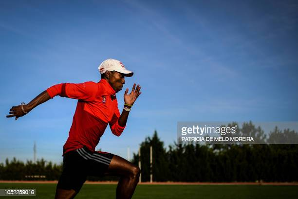 TOPSHOT Cubanborn and Portuguese triple jumper Pedro Pichardo attends a training session at the athletics track of Setubal on October 11 2018