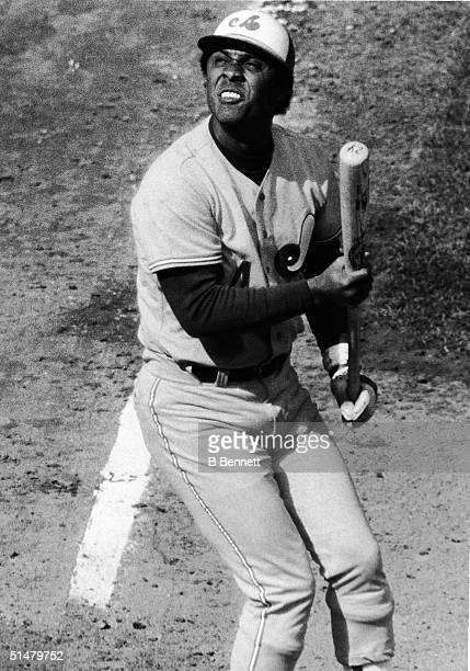 Cubanborn baseball player Tony Perez of the Montreal Expos squints into the sun as he watches the ball in the season opener with the New York Mets...