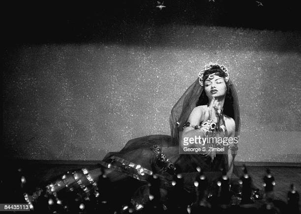 Cubanborn Isabella Garcia better known as Chelo Alonso poses as Cleopatra while performing at an unidentified New Orleans venue 1955 United States