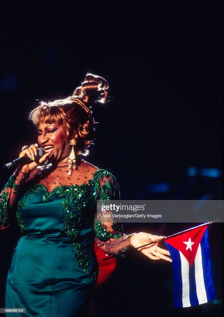 Cuban Born Salsa Singer Celia Cruz Holds A Cuban Flag As