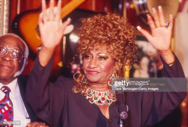 Cubanborn Salsa singer Celia Cruz with her bandleader husband Pedro Knight appears at a press conference at the Hard Rock Cafe