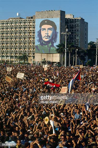 Cubans gather at a rally for Raul Castro honoring the Grenada soldiers killed during the US invasion of Grenada