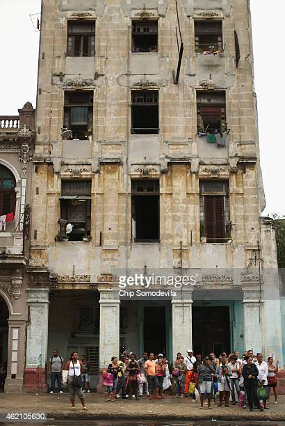 Cubans line up while waiting for a bus in the Habana Vieja neighborhood January 24, 2015 in Havana, Cuba. Diplomats from the United States and Cuba...