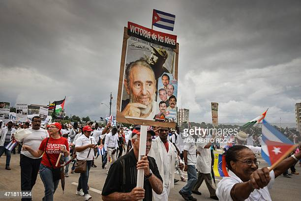 Cubans participate in the May Day celebrations on May 1 2015 in Havana AFP PHOTO/ADALBERTO ROQUE