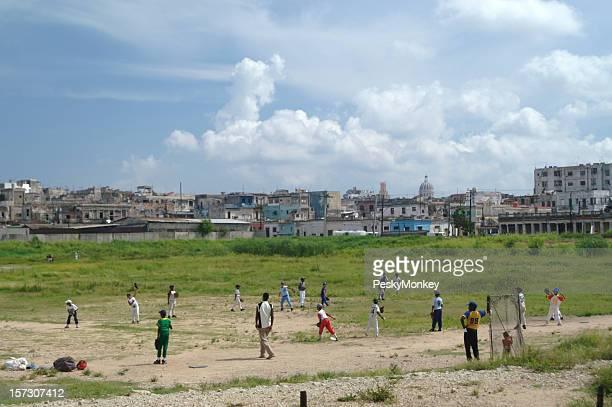 Cubans Playing Baseball Game on Cuban Sports Field