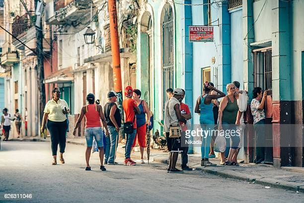 cubans queue in the streets of havana, cuba - rationing stock photos and pictures