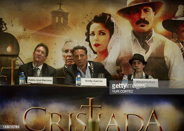 CubanUS actor Andy Garcia listens to questions accompanied by Mexican actor Mauricio Kuri and producer Pablo Jose Barroso during a press conference...