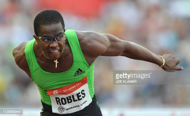 Cuba's Dayron Robles competes in 110m men's Hurdles final on May 31 2011 at the Zlata Tretra athletics meeting in the eastern Czech city of Ostrava...
