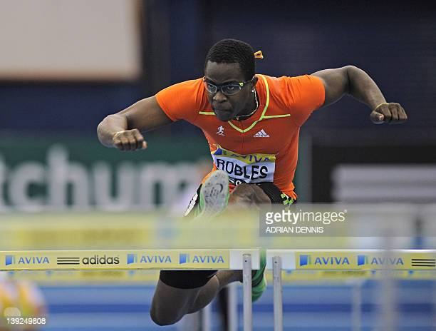 Cuba's Dayron Robles on his way to victory in a heat of the Men's 60m Hurdles during the Aviva Grand Prix athletics meeting at The National Indoor...