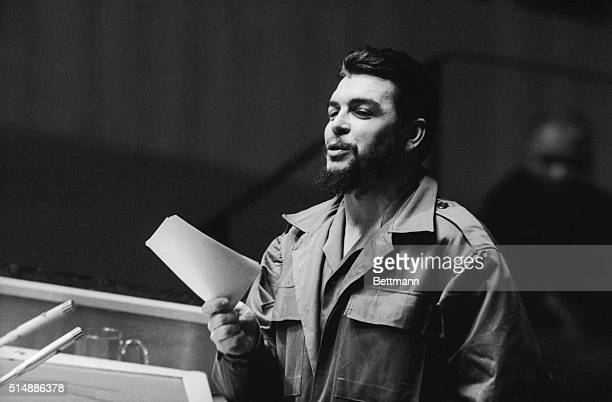 "Cuba's Ernesto ""Che"" Guevara gestures during United Nations debate with U.S. U.N. Adlai Stevenson in the U.N. General Assembly December 11th. Guevara..."