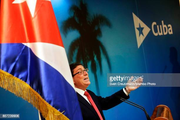 Cubas Foreign Minister Bruno Rodriguez gestures during a press conference in the Foreign Ministry, on October 03 in Havana, Cuba. The Cuban...