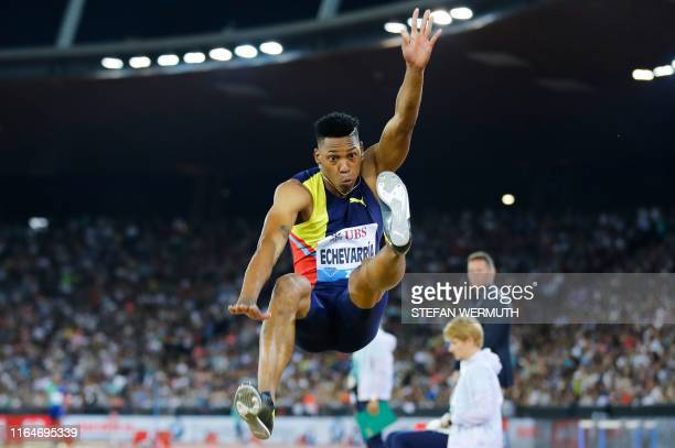 Cuba's Juan Miguel Echeverria competes in the Men Long Jump during the IAAF Diamond League competition on August 29 in Zurich.