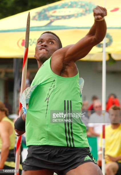 Cuba's Leonel Suarez competes in the Javelin event during the second day of the men's decathlon in Goetzis on May 27 2012 AFP PHOTO / DIETER NAGL