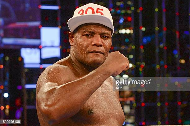 Cuba's Luis Ortiz reacts after winning the WBA Intercontinental heavyweight title against US Malik Scott in Monte Carlo on November 12 2016 Ortiz...