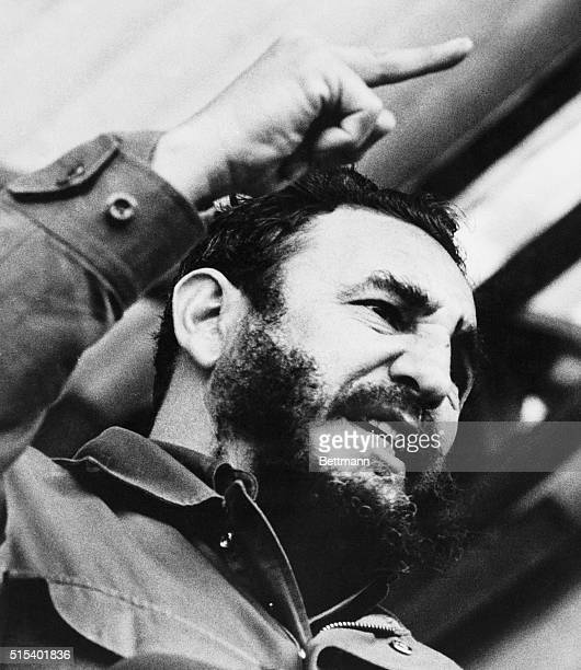 Cuba's Premier Fidel Castro delivers a few remarks while attending a 'peace rally of CzechoslovakCuban friendship' at Houstka