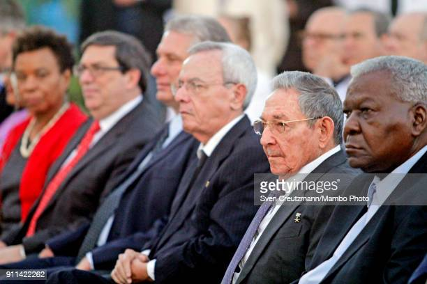 Cubas President Raul Castro attends the unveiling of a statue of Jose Marti in front of the Museum of the Revolution on January 28 in Havana Cuba The...