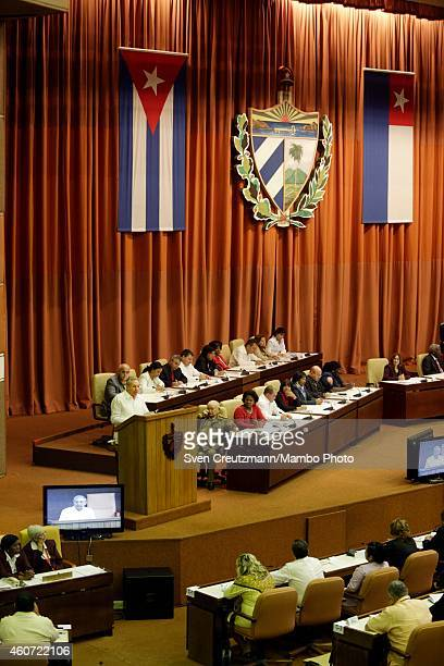 Cuba`s president Raul Castro delivers a speech at the closing session of the National Assembly on December 20 in Havana Cuba Cuba and the US had...
