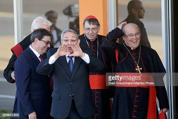Cubas president Raul Castro gestures as he talks to the press at the end of a historic meeting between Pope Francis and Russian Orthodox Patriarch...