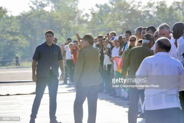 Cubas President Raul Castro greets as he leaves during apolitical act at the Plaza de la Revolucion to celebrate the 50th anniversary of the death of...