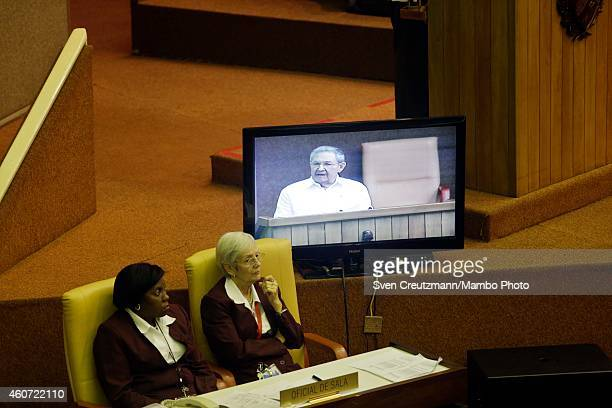 Cuba`s president Raul Castro is seen on a television monitor as he delivers a speech at the closing session of the National Assembly on December 20...
