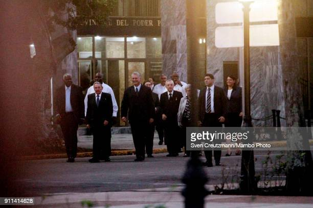 Cubas President Raul Castro walks next to Miguel Diaz Canel Cubas First Vice President prior to the prior the unveiling of a statue of Jose Marti in...