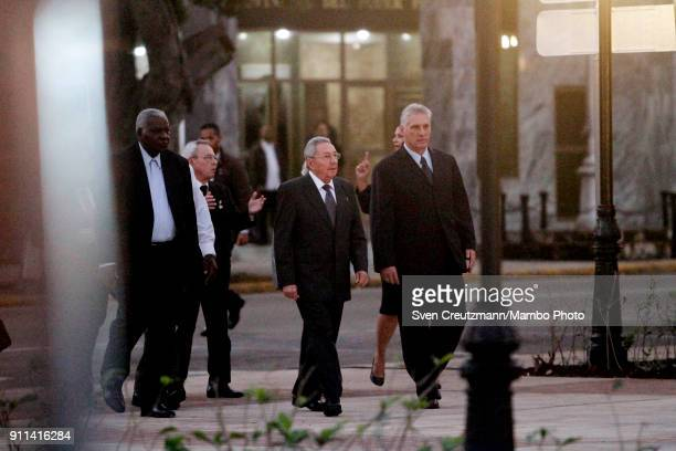 Cubas President Raul Castro walks next to Miguel Diaz Canel Cubas First Vice President prior to the unveiling of a statue of Jose Marti in front of...