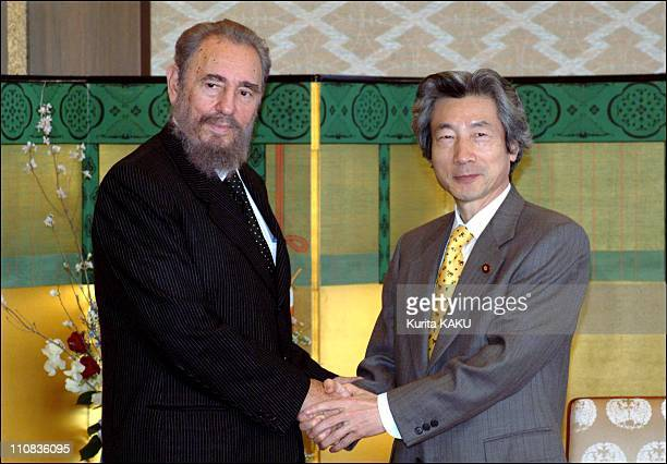 Cuba'S President The Council Of Stete Dr Fidel Castro Ruz Visits Japan'S Prime Minister Junichiro Koizumi At Foreign Ministry'S Guest House In Tokyo...