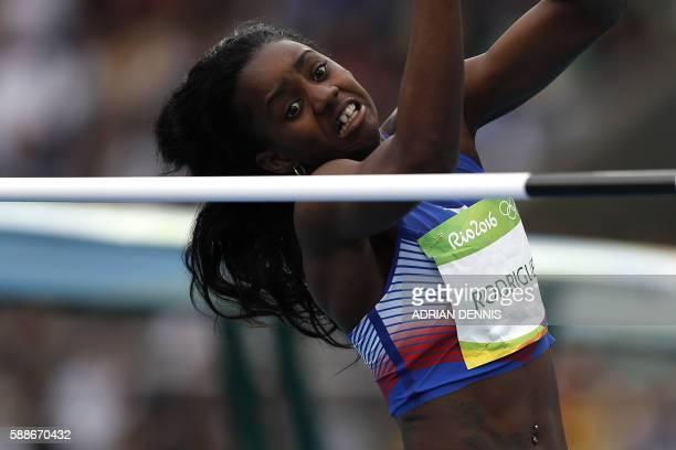 TOPSHOT Cuba's Yorgelis Rodriguez competes in the Women's Heptathlon High Jump during the athletics event at the Rio 2016 Olympic Games at the...