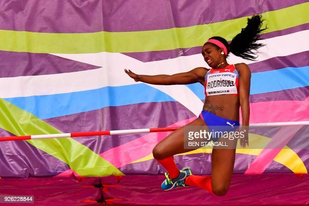 Cuba's Yorgelis Rodriguez competes in the women's high jump pentathlon event at the 2018 IAAF World Indoor Athletics Championships at the Arena in...