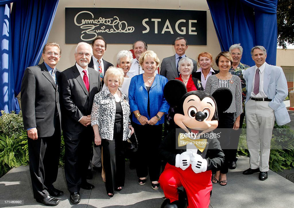 Cubby O'Brien, Tommy Cole, Bobby Burgess, Sharon Baird, Darlene Gillespie, Glen Holt, Sherry Alberoni, Bob Iger, Nancy Abbate, Doreen Tracey, Mary Espinosa, Paul Peterson and Johnny Crawford attend the stage one rededication ceremony hosted by Walt Disney Company CEO Bob Iger honoring 'America's Sweetheart' Annette Funicello at Walt Disney Studios on June 24, 2013 in Burbank, California.