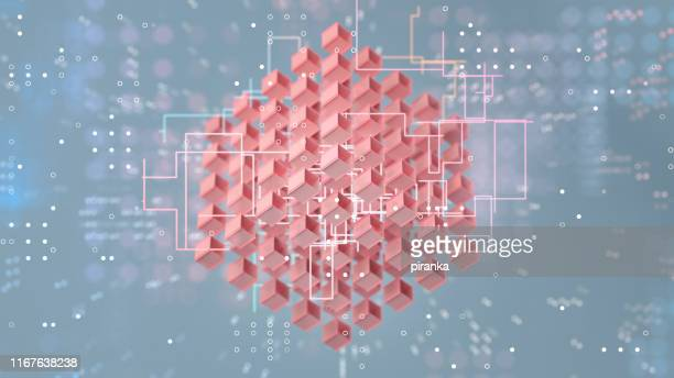 cube formation - blockchain stock pictures, royalty-free photos & images