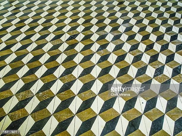 3D Cube Geometrical Floor Pattern