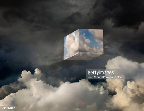 Cube of cloud computing in sky