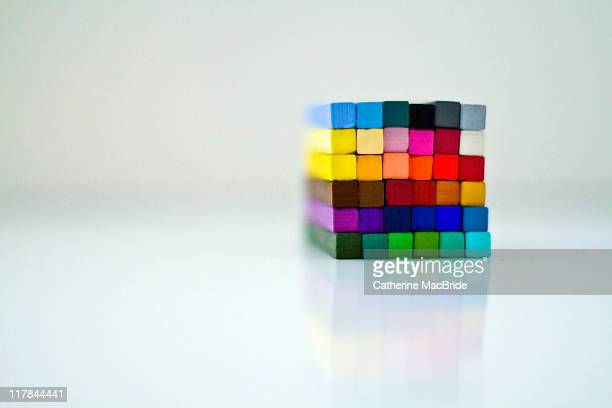 cube of stacked chalk pastels - catherine macbride stock-fotos und bilder
