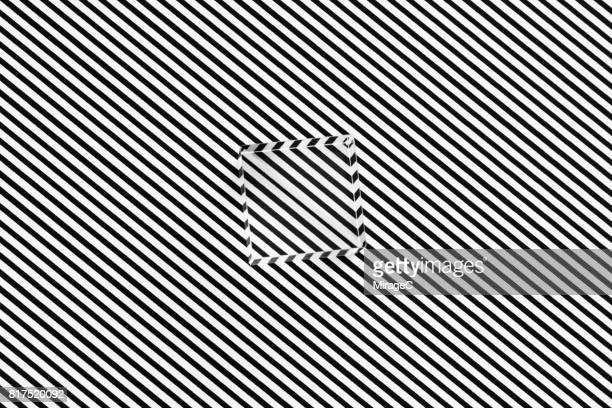 cube prism on black and white stripes illusion - illusion stock pictures, royalty-free photos & images