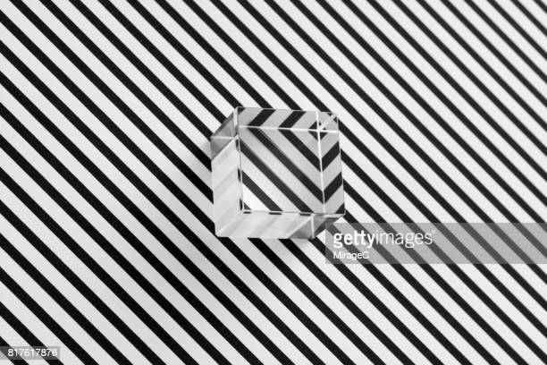 Cube Prism on Black and White Stripes Illusion