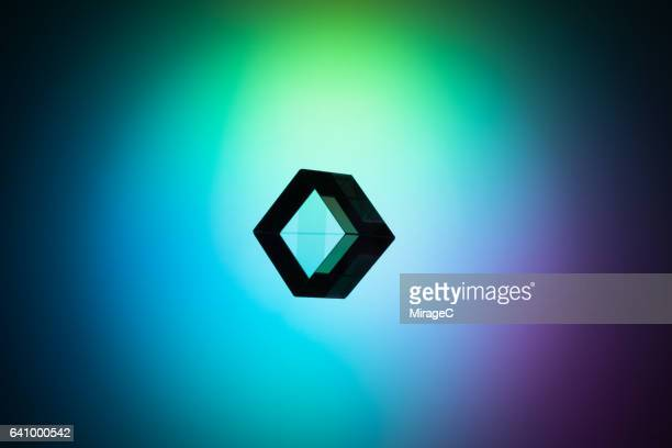 Cube Prism on Colorful Background