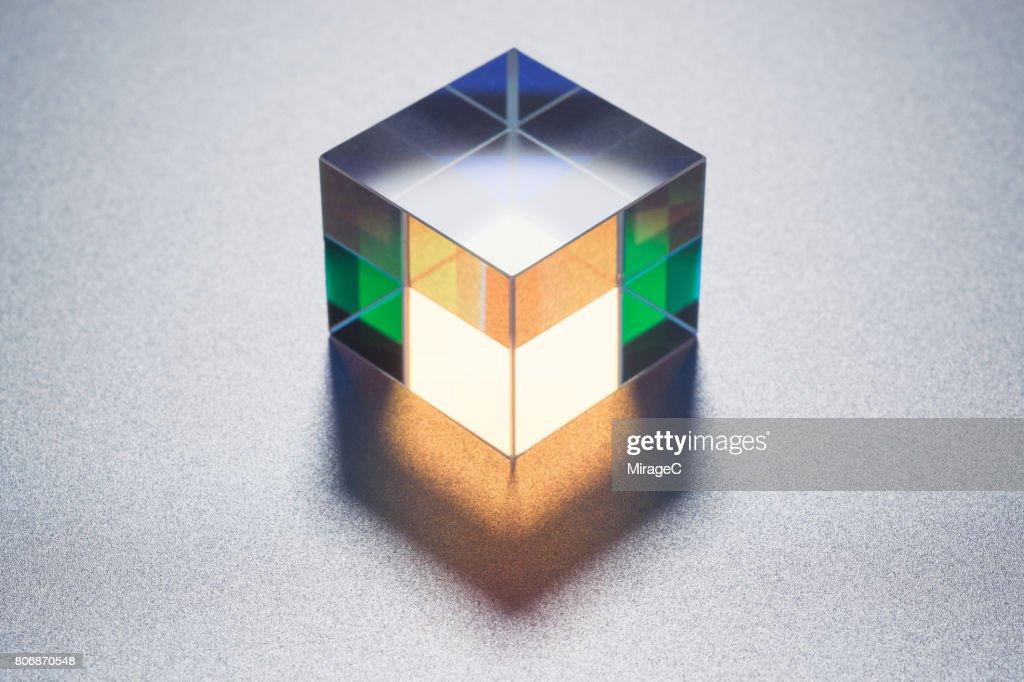Cube Prism on Metallic Background : Stock Photo