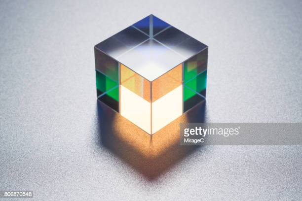 Cube Prism on Metallic Background