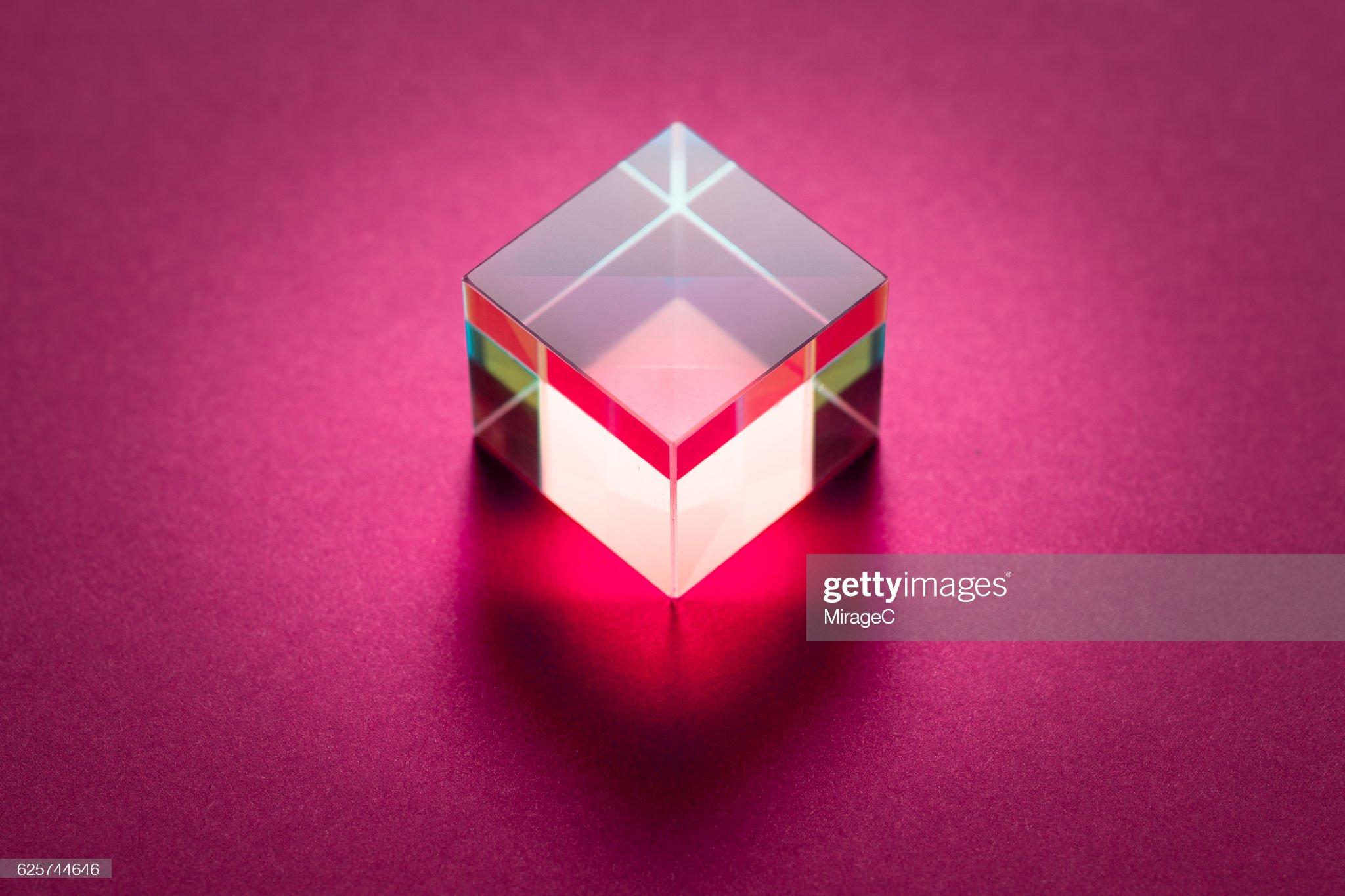 Cube Prism on Pink Background : Stock Photo