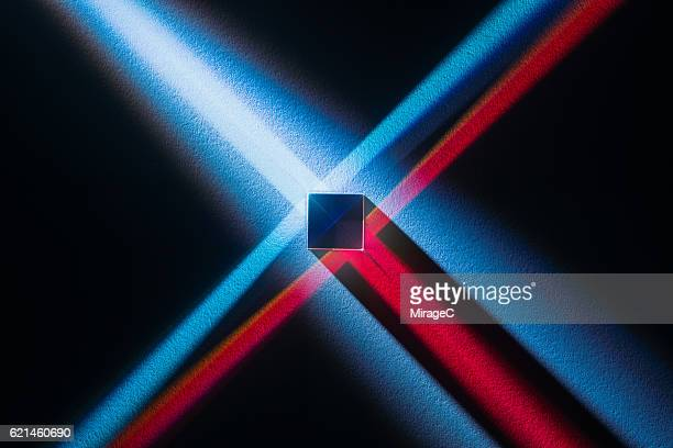 cube prism with colorful spectrum - physics stock pictures, royalty-free photos & images