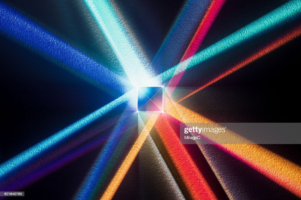 Cube Prism with Colorful Spectrum : Stock Photo